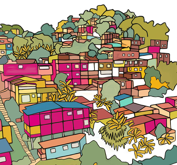 illustration of colorful colombian village