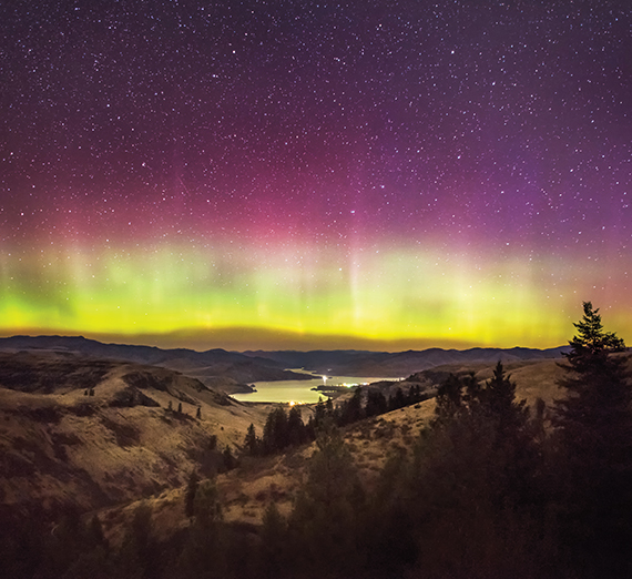 northern lights over Keller Ferry in WA by Craig Goodwin