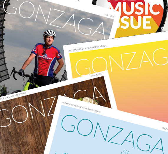 collage of copies of Gonzaga Magazine