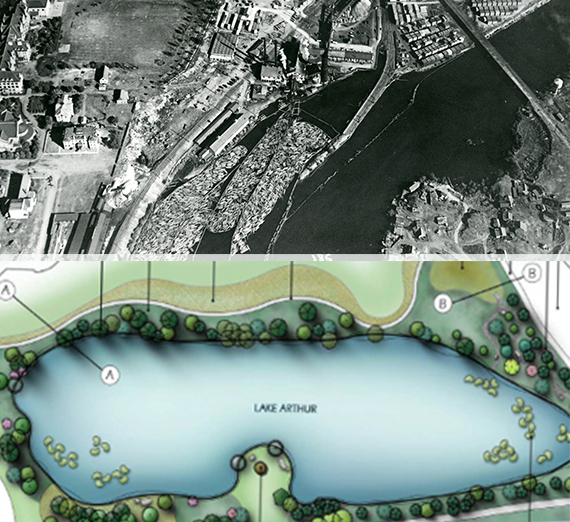 one historical aerial and a digital rendering of Lake Arthur