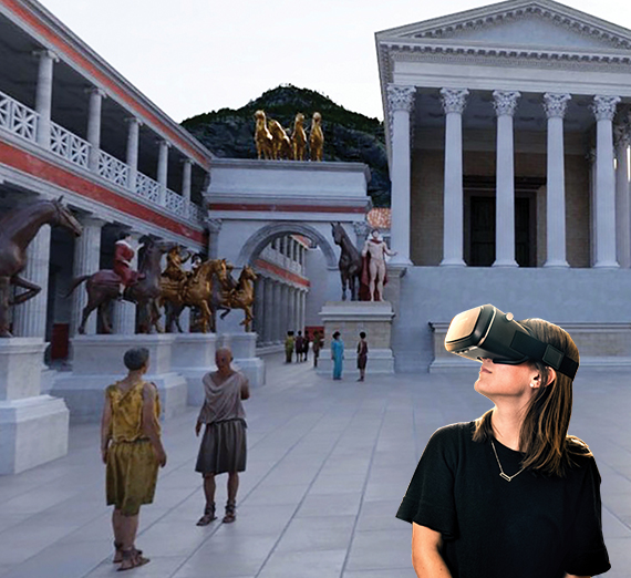 student with vr goggles imposed over ancient pompeii scene