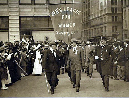 The 1910 men's march. Male suffragists were important to the movement.