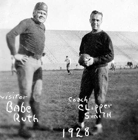 "On Nov. 16, 1926, home run king George Herman ""Babe"" Ruth came to campus to meet the GU football team and Coach Maurice ""Clipper"" Smith. Ruth spent the week in Spokane as part of his barnstorming tour. He practiced with the football team, punted balls with them, and signed baseballs. Afterward, Ruth gave a short talk and said that he was unofficially picking Gonzaga to win the Homecoming game on Thanksgiving Day against Washington State College. Unfortunately, WSC beat Gonzaga 7-0 with a crowd of over 10,000 at Gonzaga. Maurice ""Clipper"" Smith played for the University of Notre Dame from 1917-1920 and coached Gonzaga's football team from 1925-1928. (GU Archives)"