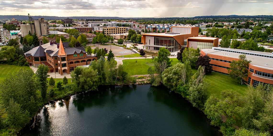 Aerial view of a western part of campus. (GU photo)
