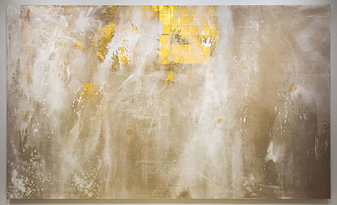 Makoto Fujimura (American, b. 1960) Walking on Water- Banquo's Dream, 2012 Oyster shell white, quartz, gold on linen
