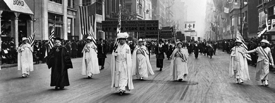 New York Suffrage Parade: Public Demonstration following 60 years of activism.
