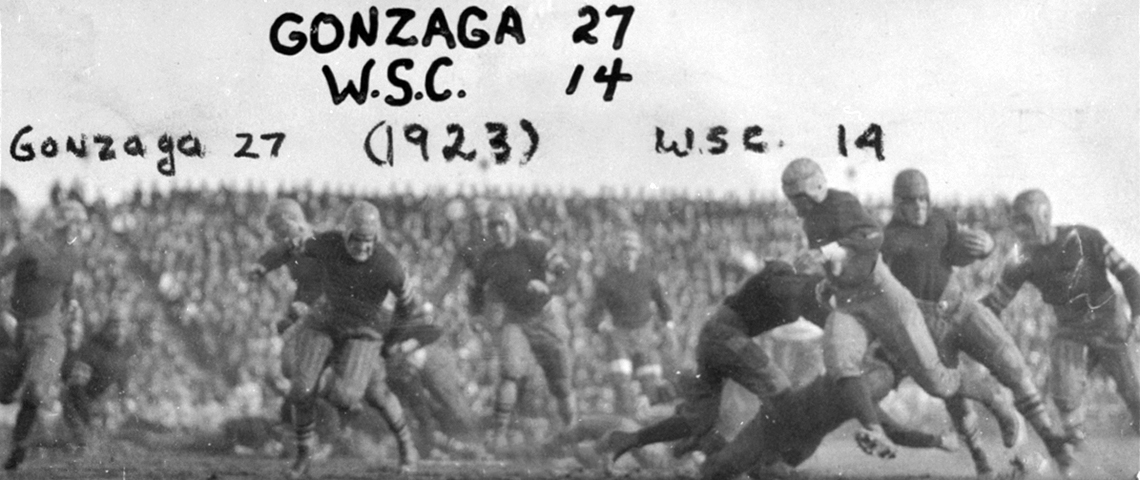 Gonzaga beat Washington State College at Gonzaga Stadium, 27-14, in 1923. (GU Archives)