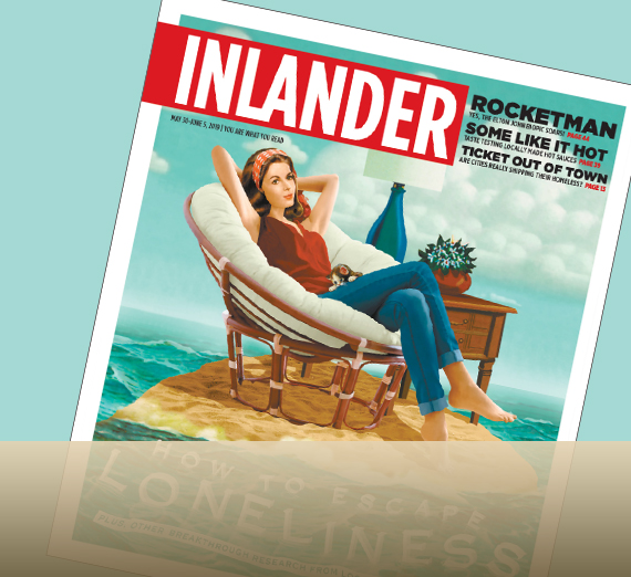 cover of inlander with woman on island