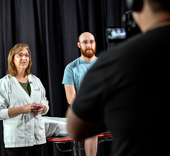 Gonzaga instructional design and delivery professionals film faculty for an online course.
