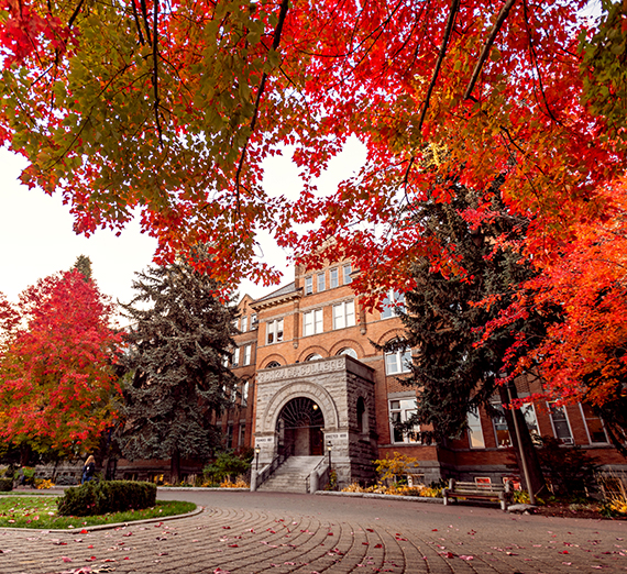 Fall scene of College Hall (GU photo)