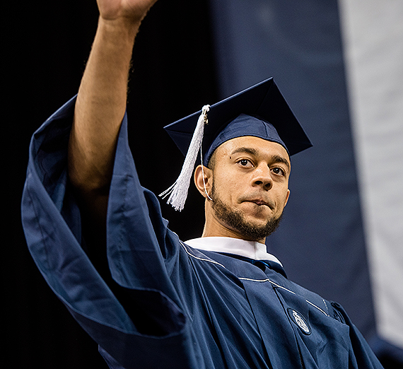 Nigel Williams-Goss at Commencement 2017. (GU photo by Zach Berlat)