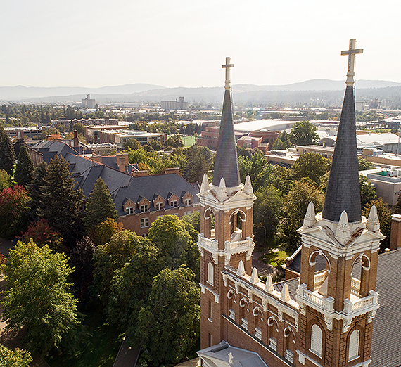 The Spires at St. Aloysius Church at Gonzaga. GU photo