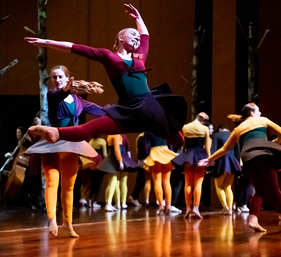 Gonzaga dancers perform at the opening of the Woldson Performing Arts Center in April 2019. (GU photo)