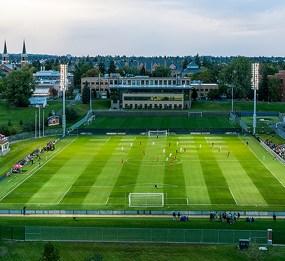 A campus view looking north upon the Luger Soccer Field. (GU photo)