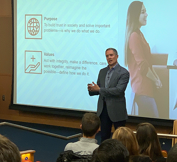Gary Price, PwC's partner affairs leader and chief administrative officer, speaks to GU students.