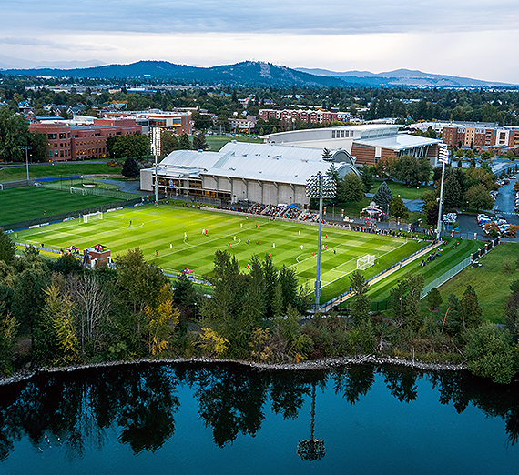 A view of campus from the south looking north across the Spokane River. (GU photo)