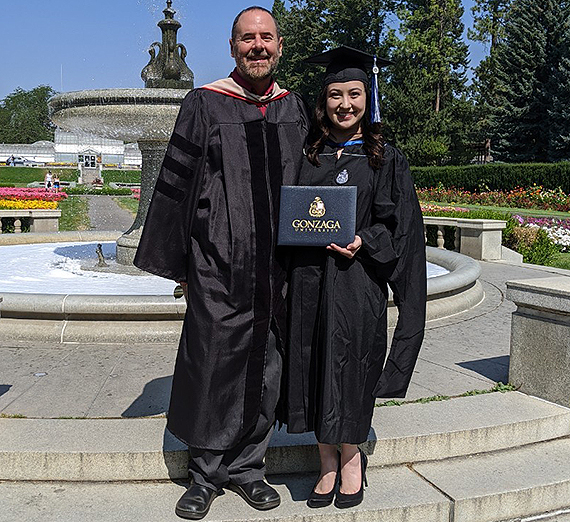 Joanna Hazel with her father, Michael Hazel, Ph.D., an associate professor in the Master of Communication and Leadership Studies program. (Courtesy Joanna Hazel)