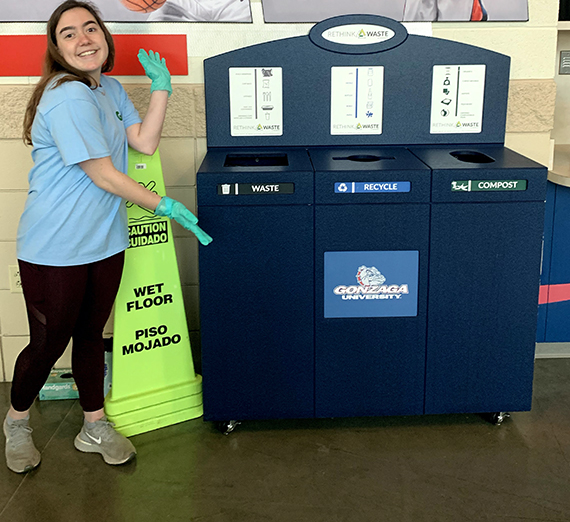 The Zero Waste Basketball competition was among the RecycleMania events. (GU photo)