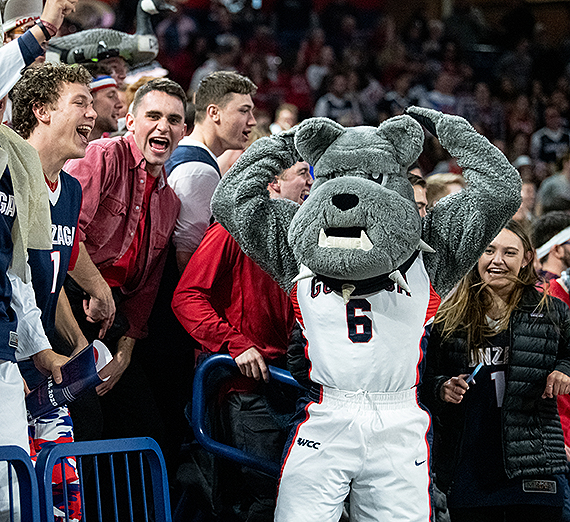 Spike fires up fans on Gonzaga Day in the Kennel where the Zags beat BYU 92-69. (GU photo)