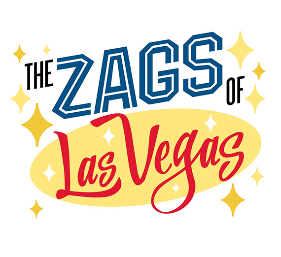 graphic treatment of headline Zags in Vegas to look like Vegas signage