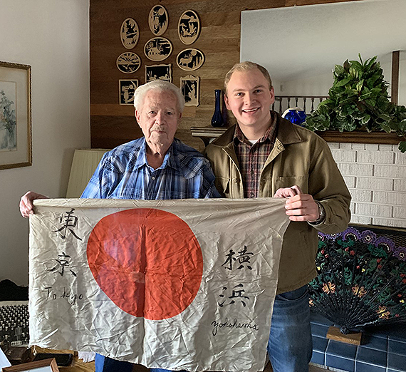 Davis with World War II Navy veteran Bill Beckstrom; January 2019. (Courtesy Scott Davis)