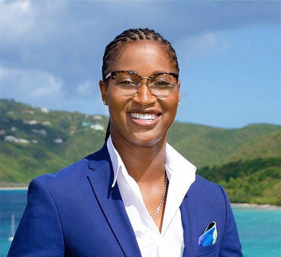 Virgin Islands Sen Janelle Sarauw with backdrop of Island scenery