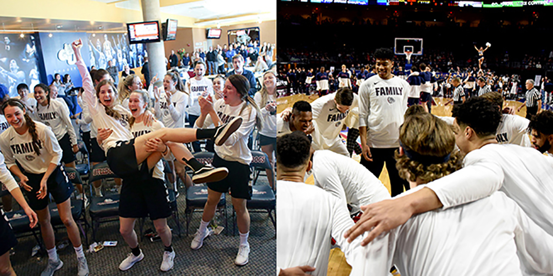 (left) Women celebrate after learning tournament seed. (right) Zags men at WCC Tournament.  (GU photos)