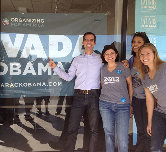 Danielle Cendejas with Obama campaigners in Nevada