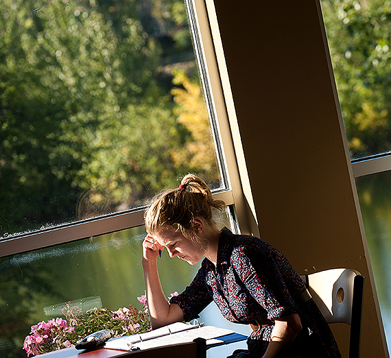 A student in the Jepson Center for the School of Business Administration. (GU photo)
