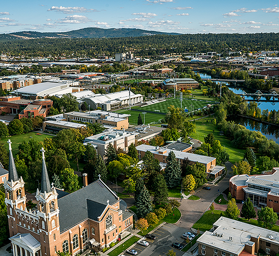 An aerial shot of Gonzaga's campus. (GU photo)