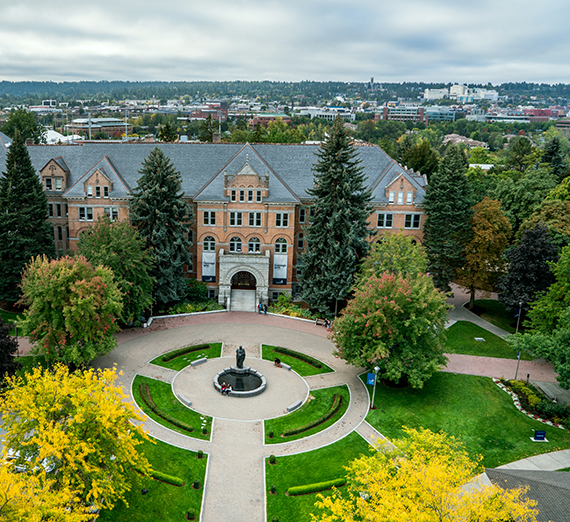 An aerial view of College Hall, the administration building at Gonzaga University. (GU photo)
