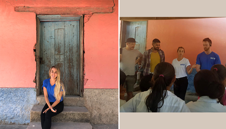 Two photos of Erin Bergmann in Honduras