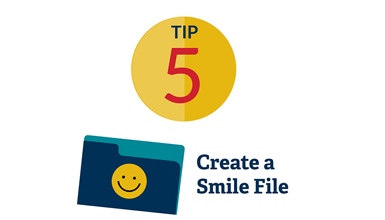 illustration of file folder with happy face