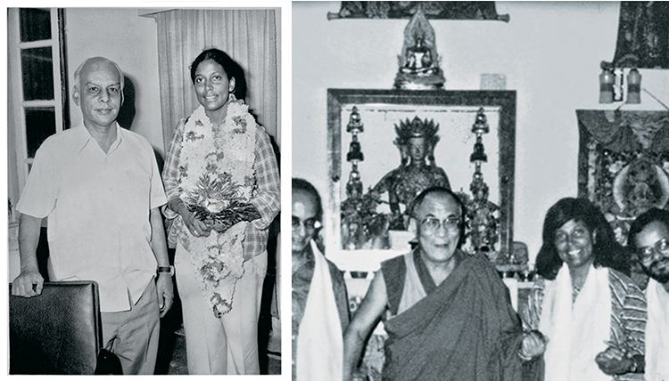 (Left) A black and white photo of a woman, Davis, standing with a man, the Rajasthan head minister. (Right) A black and white photo of a woman, Davis, standing in a group of people next to the Dalai Lama.