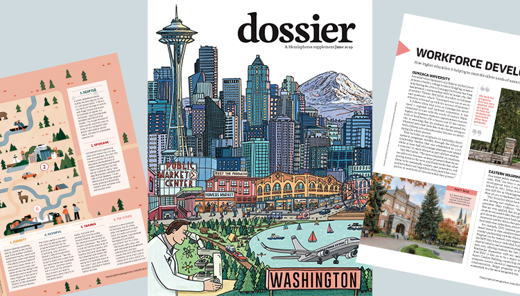 three separate images of pages in a print magazine showing Washington state