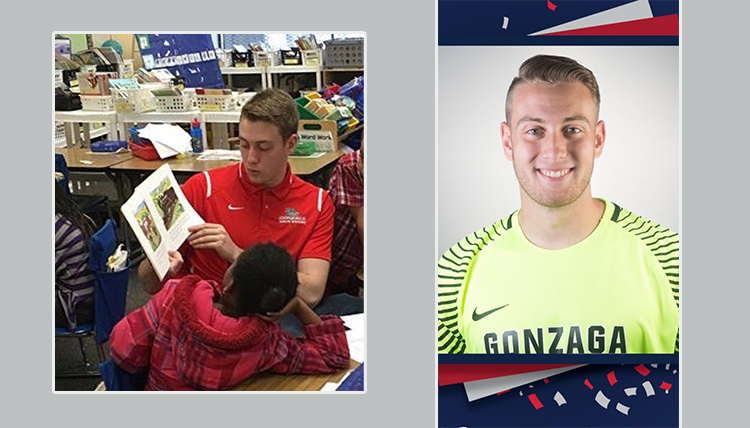 two separate images of tobias, one soccer headshot and one of him reading to young children