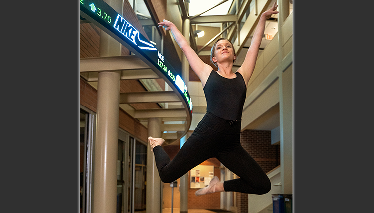 Kayla leaps in the business school