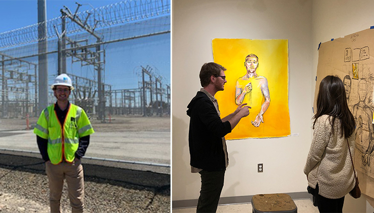 On the left is Finn Semling at work; the right is Semling at his senior art showcase