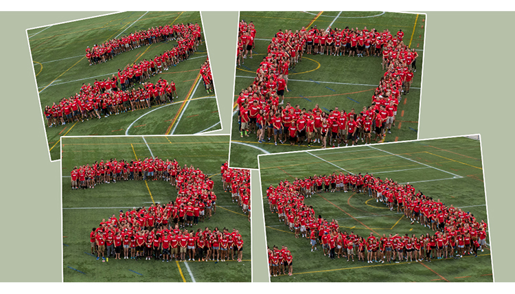students arranged into the number 2020