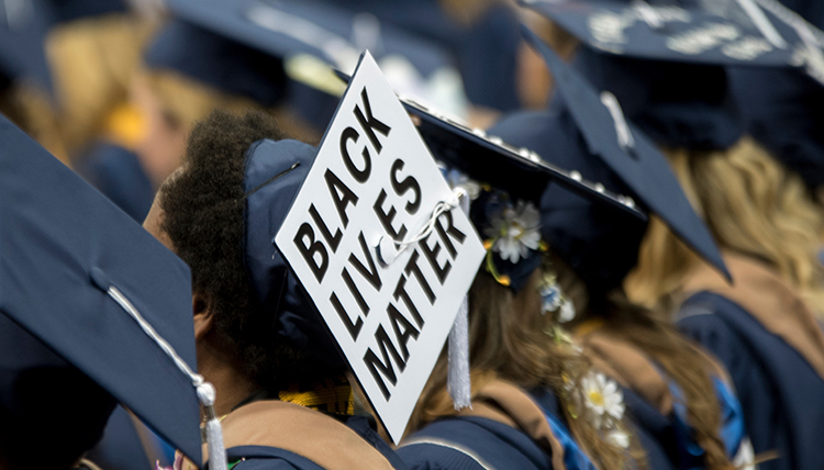 graduation hat with black lives matter saying