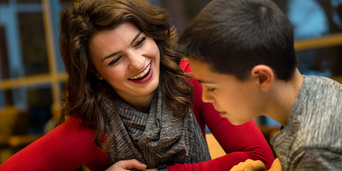 Gonzaga University student Madison Rose mentors a young boy with learning disabilities.