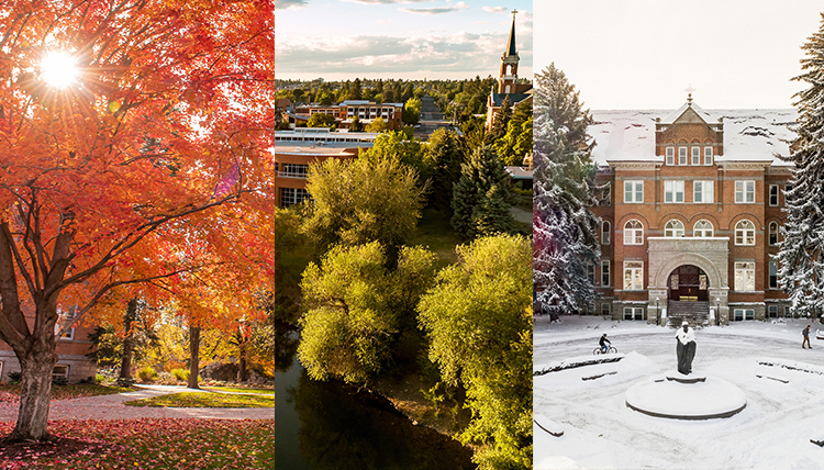 Left fall leaves; middle ariel shot of Gonzaga campus; right College Hall in the snow