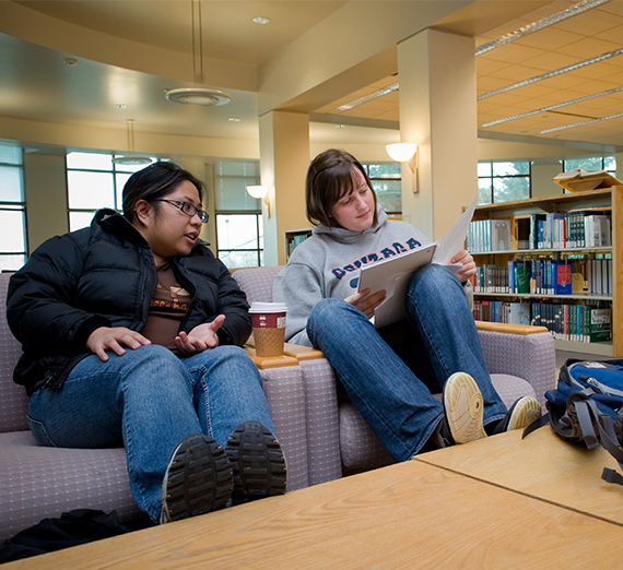 Two students sit and compare notes in chairs at the library.