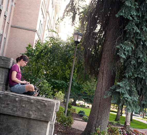 A student sits on a stone bench and works on her laptop.