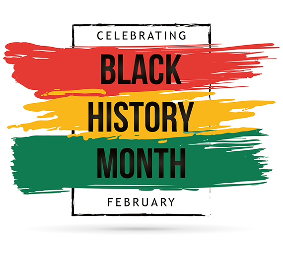 graphic of red yellow and green with words celebrating black history month