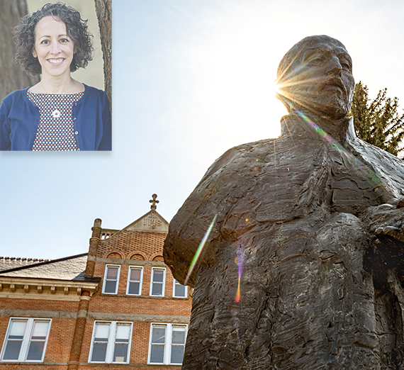 photo of ignatius statue with inset of female author