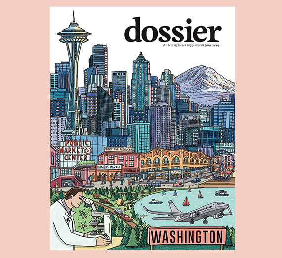 cover of magazine with illustration of Washington
