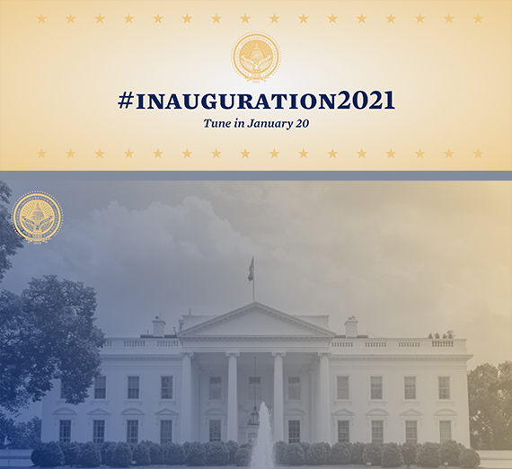 official US inauguration seal and white house image