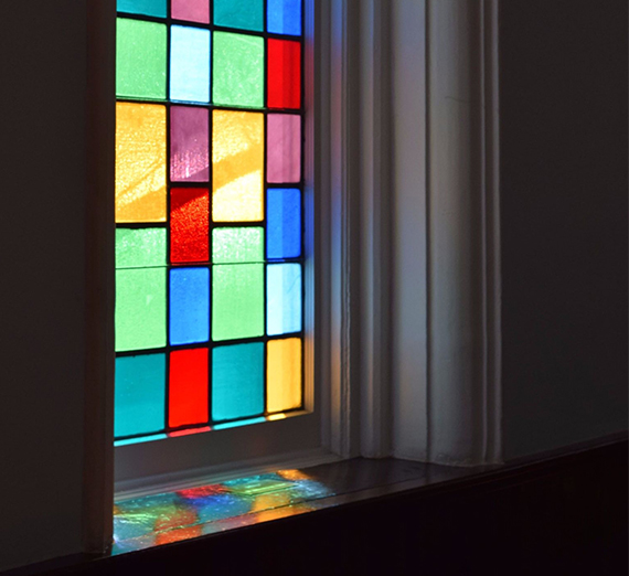 stained glass window inside Dexter Ave. Baptist Church where MLK led