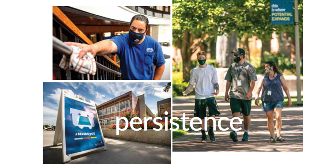 collage of photos showing preparations for campus reopening